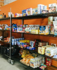 Shelf stable foods at food bank agency store