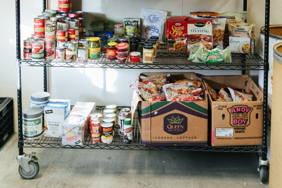 Canned food on shelf in agency store at Community Food Bank of San Benito County