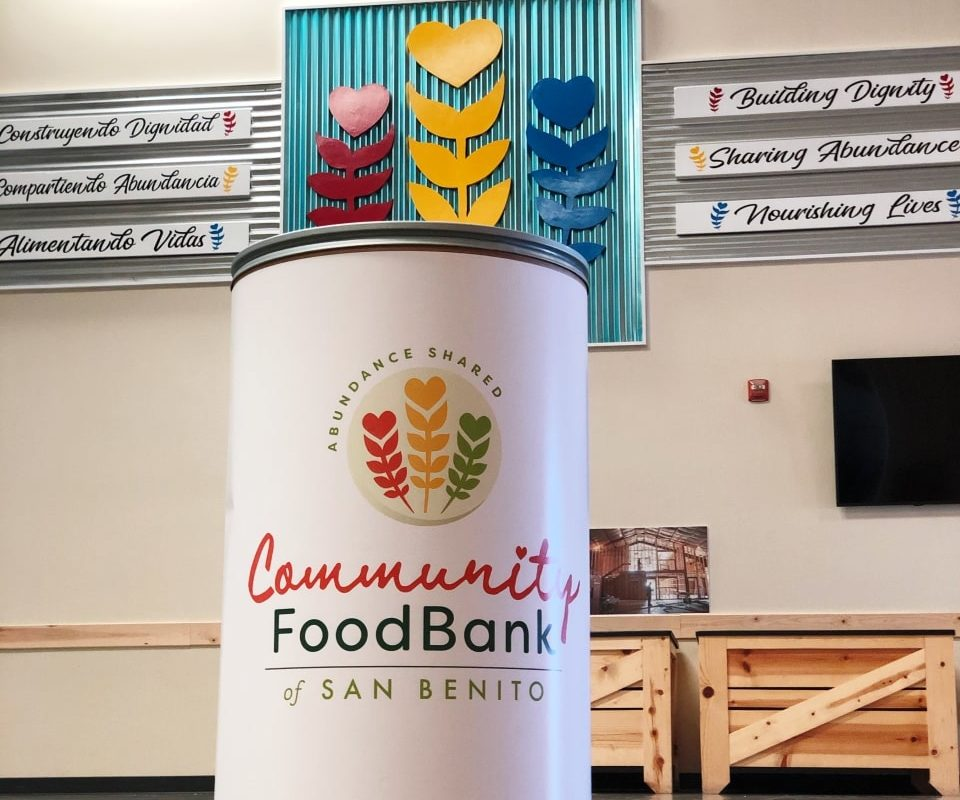 Food donation barrel inside Community Food Bank of San Benito County