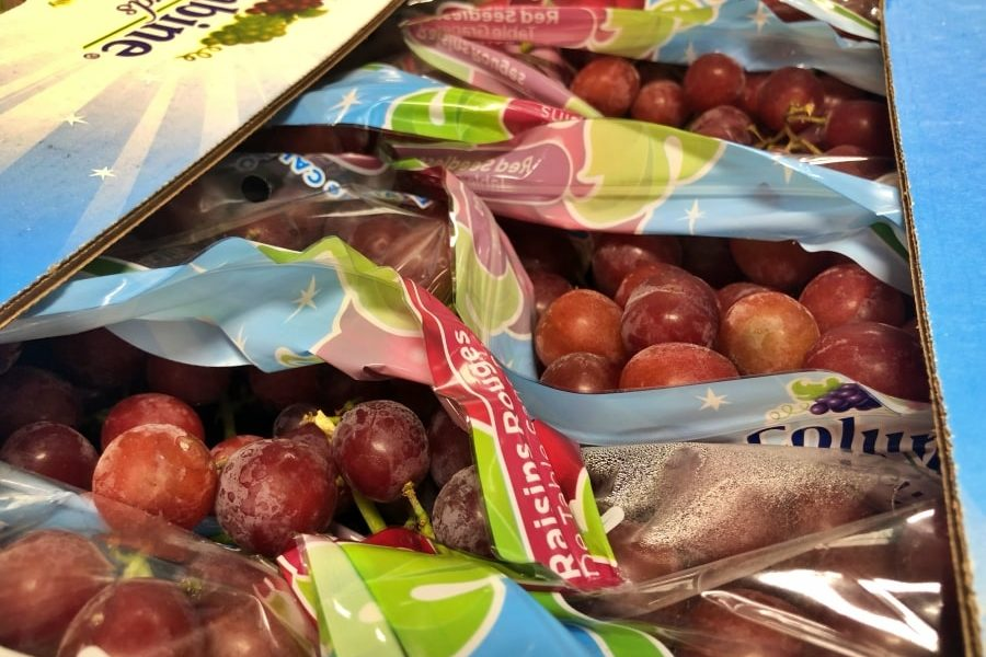 Red seedless grapes in boxed bags from USDA