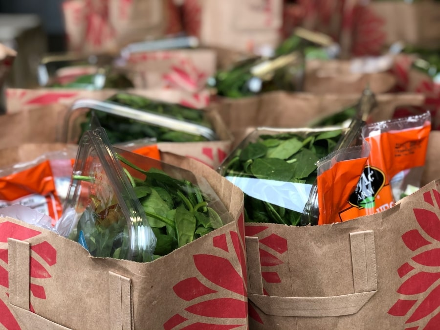 Paper grocery store bags filled with food from Community Food Bank of San Benito County