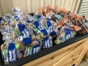 5 pound bags of potatoes from USDA at Community FoodBank in Hollister, CA