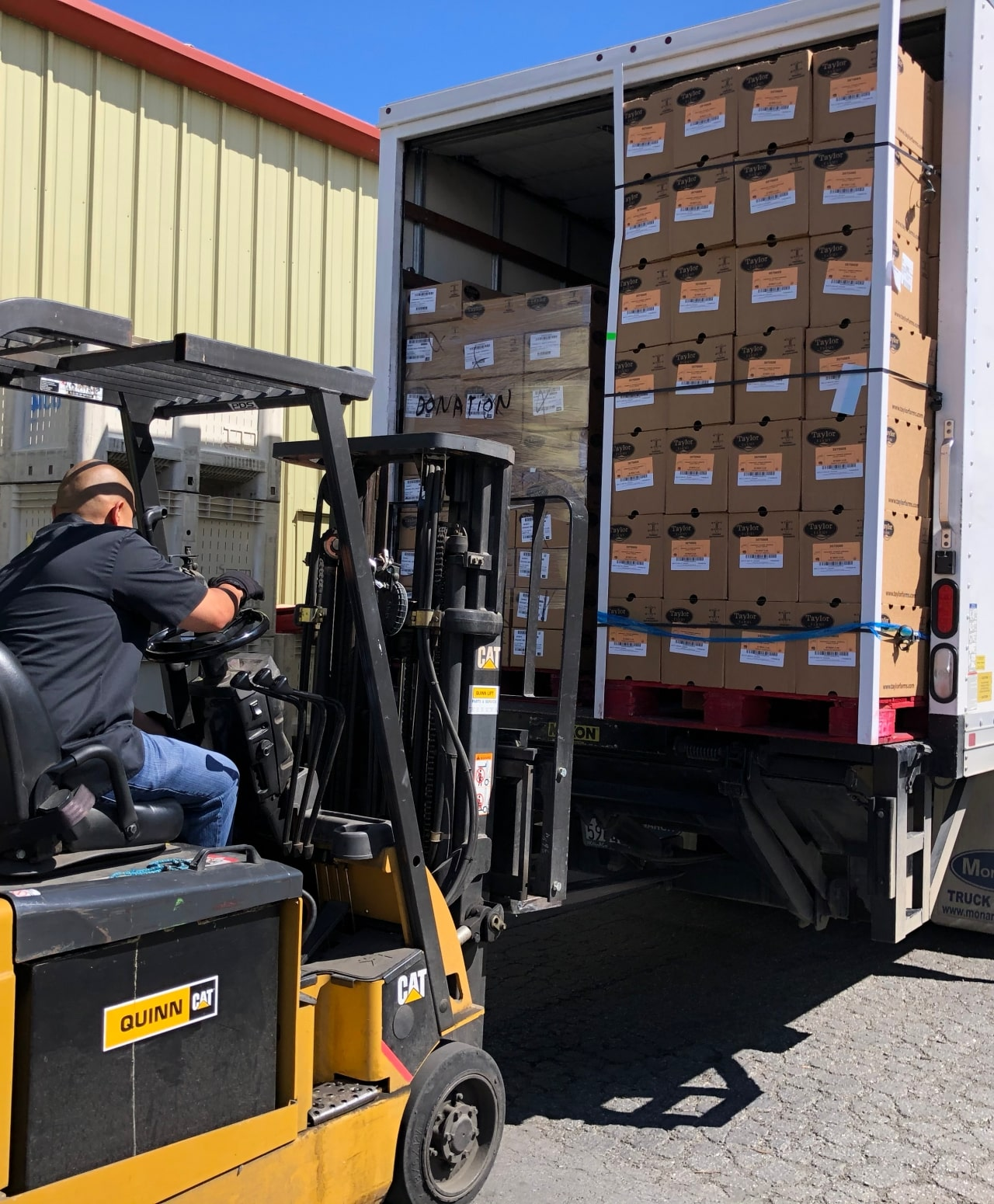 Food bank assets, pallets of foods off-loaded from truck with forklift