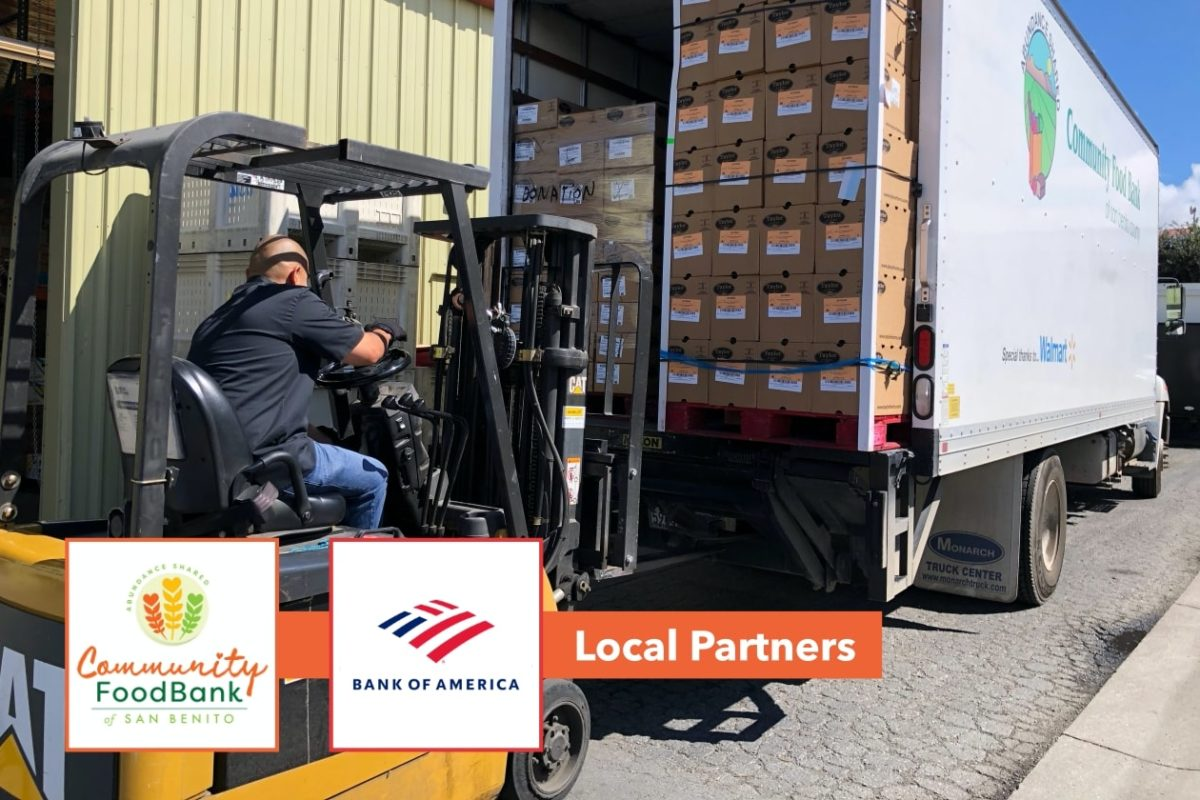 Pallets of food unloaded from food bank truck in Hollister, California