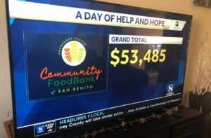 TV screen shows KSBW Day of Hope and Help donation total for Community Food Bank of San Benito County